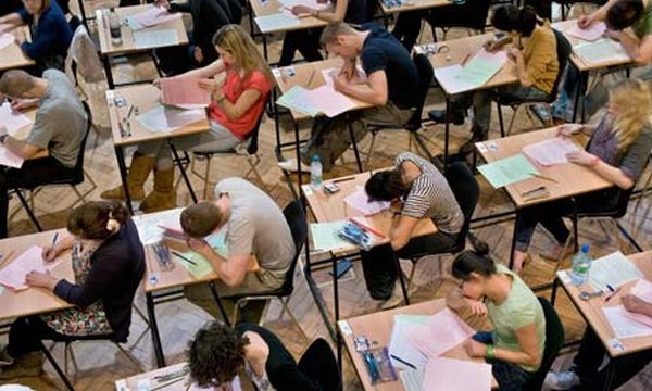 University students from King's College London, sitting exams